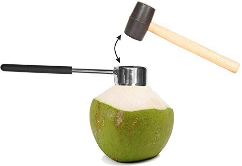 Coconut Opener| Coconut Opener Kit with Hammer Stainless Steel Opening Utensil Premium Wooden Handle| Coconut spoon| Drinking Straws| Straw Cleaner| Opener Tool Set with a Carry Bag (7pcs)