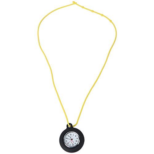 NICERIO Enfermera Reloj de Bolsillo Reloj Médico Silicona Enfermera Reloj Colgante de Bolsillo Color Sólido Enfermera Reloj Redondo(Colores aleatorios de Cuerda)