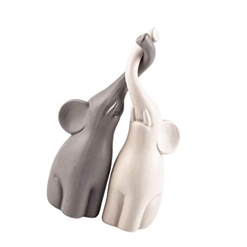 VOSAREA 2 Paia di Elefanti Statua di Elefante Ornamenti per La Casa per La Decorazione del Desktop