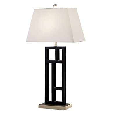 Tall Black Metal Table Lamp with Shade