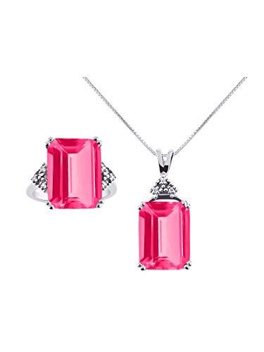 RYLOS Designer Emerald Cut Gemstone & Genuine Sparkling Diamond Ring & Necklace Matching Set in Sterling Silver .925-16X12MM Rectangular Color Stone