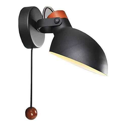 Appliques orientables à 180 °, Nordic LED Fer Noir/blanc Suspension Lampe murale Applique Postmoderne Salon Étude En Bois Massif Lecture Mini Applique Murale (Color : Black)
