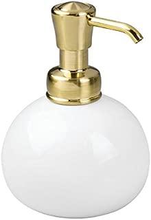 iDesign York Ceramic Round Dispenser Pump for Kitchen and Bathroom, White/Soft Brass
