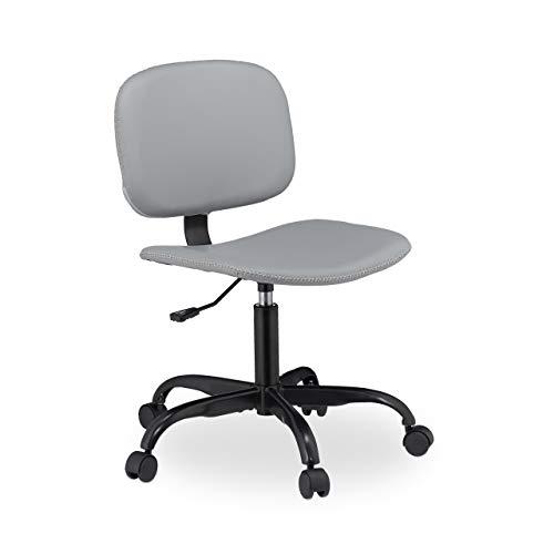Relaxdays bureaustoel met wieltjes, comfortabel, in hoogte verstelbaar, design bureaustoel tot 120 kg, H x D: 88 x 60 cm, grijs