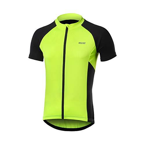 ARSUXEO Camiseta de Ciclismo de Manga Corta para Hombre Camiseta de Bicicleta MTB con Bolsillo con Cremallera 655 Verde XL