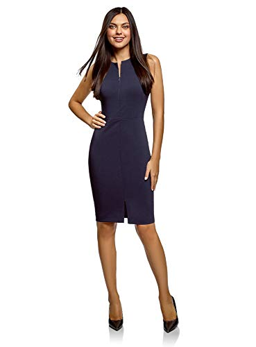 oodji Ultra Damen Enges Kleid mit Verdecktem Reißverschluss, Blau, L