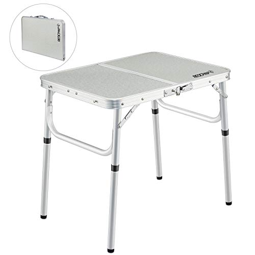 REDCAMP Small Folding Camping Table Portable Adjustable Height Lightweight Aluminum Folding Table for Outdoor Picnic Cooking, White 2 Foot