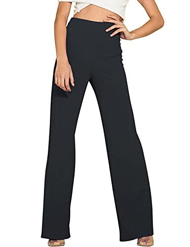 FANCYINN Pantalón de Pierna Recta Ease Into Comfort para Mujer Pantalón elástico de Trabajo Informal de Negocios Que se Ajustan Apenas a la Pierna Pantalón elástico con Control de Barriga Negro S