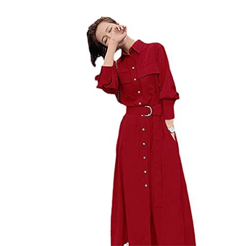 wkd-thvb Vestido Mujer Primavera Otoño Manga Larga Vestidos Retro, Vino Tinto, L