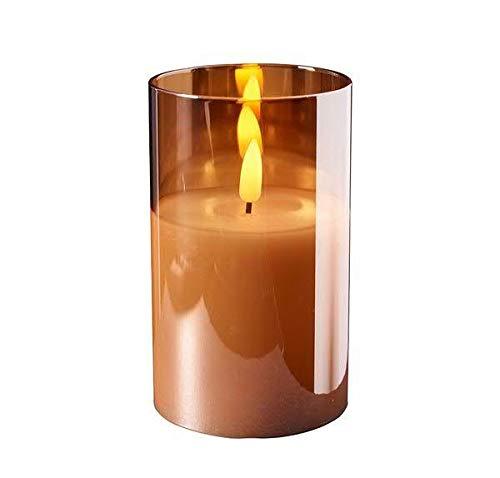 Hochwertige & Edle LED Kerze im Glas - Timer - Realistisch Flackernd - Neuartiges Design (Amber, Höhe: 12,5cm - Ø 7,5cm)
