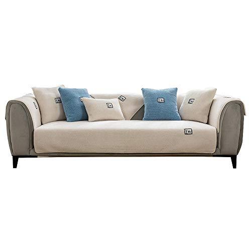 YUTJK Funda de sofá de Esquina,Fundas de Asiento de sofá de Tela para Sala de Estar,Funda Protectora de Muebles,Cojín de sofá de Cachemir pequeño Emulation,para Dormitorio,Blanco_110×110cm