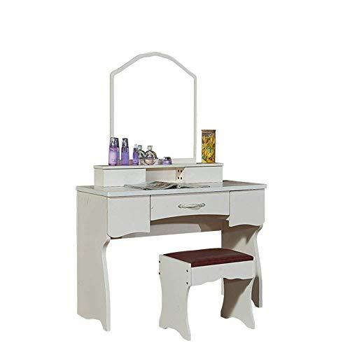 Tägliche Ausrüstung Tischset Schienen mit großen Schubladen Weißes Tischset mit Spiegel und Kompositionsorganisator Schminktisch zur Verwendung im Schlafzimmer (Farbe: Weiß Größe: 105 * 43 * 160 cm