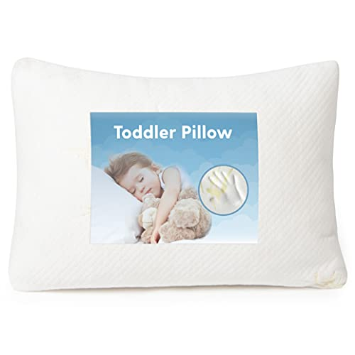 Toddler Kids Pillow, Children Little Boys and Girls Small Mini Nap Soft Memory Foam 13 x 18 Daycare Bed Pillow, for Sleeping and Travel  Cribs / Pack N Play; Toddler Age 1 , 2 and 3