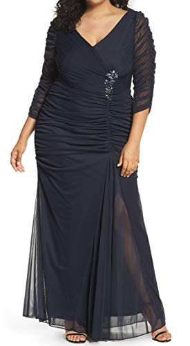 Adrianna Papell Women's Plus-Size Three-Quarter Sleeve Ruched Gown, Ink, 20W