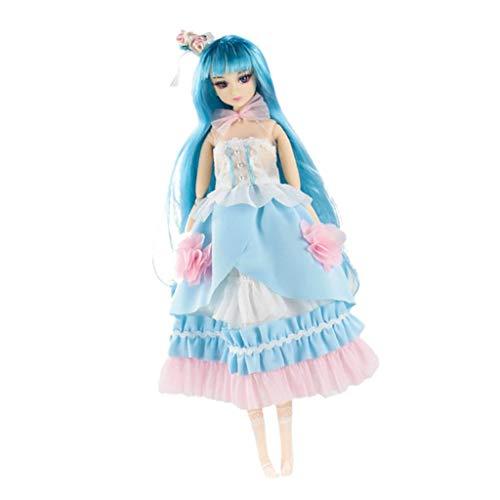 MagiDeal 30cm Flexible 14 Gelenke Beweglich Anime Mädchen Puppe Modell Mit Kleid Modepuppe Spielzeug - B