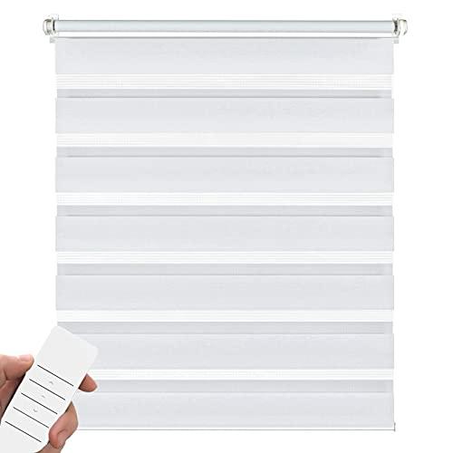 Kirsch Innovation Elektrisches Doppelrollo für Fenster, Klemmfix ohne Bohren, Rollo mit Akku, transparent lichtundurchlässig – 75x150 cm weiß – Duo Rollo Klemmträger