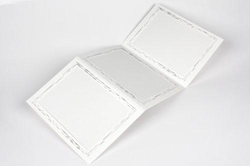 Webafi 5 Stück weiße Leporello filigraner Silberrand I Foto - Bildformat 13 x 18 cm I Portraitmappe I Passepartout I Fotomappe