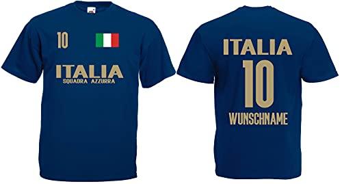 Italien Squadra Herren T-Shirt mit Wunschname-Wunschnummer EM 2020 Trikot Look Dunkelblau XXXL