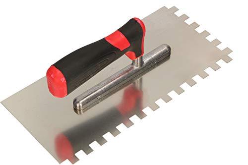 KOTARBAU® Edelstahl Glättkelle 270 x 128 mm mit Zahnung 10x10 mm Zahnkelle zum Verlegen von Fliesen Glättscheibe Traufel Edelstahlkelle mit Softgriff unentbehrlich beim Fliesen