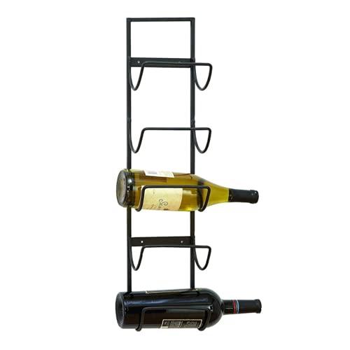 Wijnrekken Wijnrek En Handdoekenrek - Wall Mounted Wine Shelf Past 5-niveaus Wijnflessen En Veel Handdoeken - Past Als Badkamer/Bar/Keuken/Kastjes, Zwart