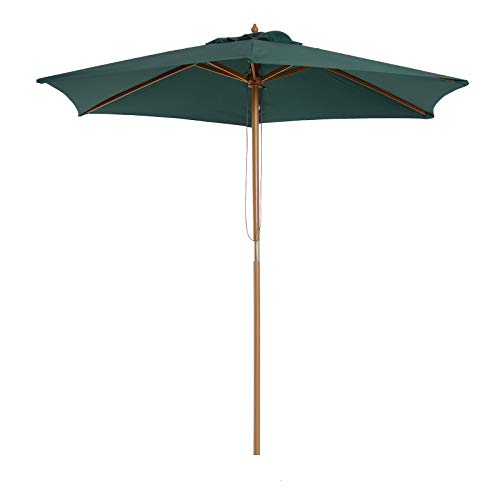ombrellone da giardino verde Outsunny - Ombrellone in Legno da Esterno Giardino 2.5X2.3M Verde