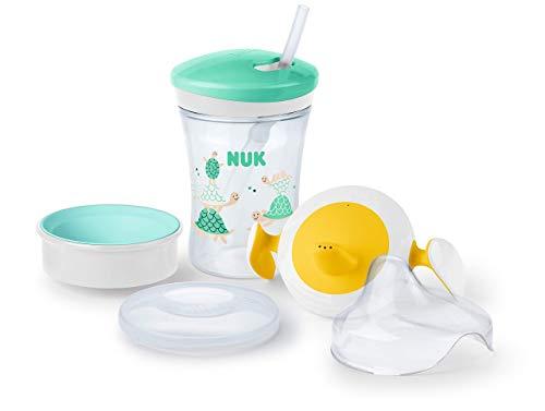 NUK 3-in-1 Trinklernset mit Trainer Cup Schnabeltasse (6+ Monate), Magic Cup 360° Trinklernbecher (8+ M) & Action Cup Trinkflasche Kinder (12+ M) | 230 ml | BPA-frei | Schildkröte (grün)