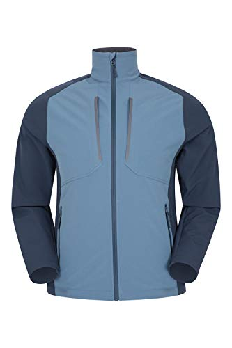 Mountain Warehouse Recycled Compass Explorer Mens Softshell Jacket - Breathable, Water Resistant, Underarm Zips Rain Jacket -Best for Spring, Outdoors, Hiking, Trekking Azul Marino L