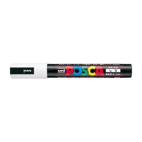 三菱鉛筆 uni 水性顔料マーカー ポスカ 中字丸芯 白 PC5M.1