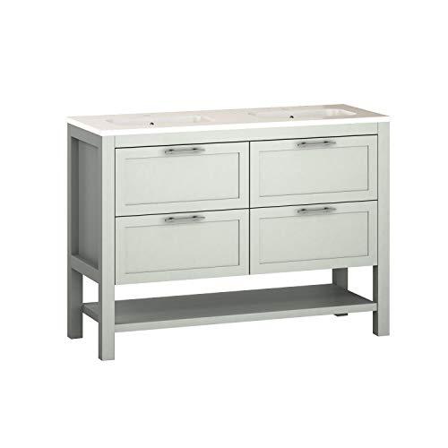Randalsa Kansas - Mueble de baño (120 cm de Ancho, Estilo clásico, Color Verde Mate, Tirador de Plata Envejecida, 120 x 89 x 46 cm, Mueble + Lavabo de cerámica, 4 cajones)