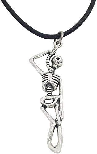 Collar Moda Calavera Esqueleto Colgante Collares Gargantilla Steampunk The Walking Dead Ghosts Zombie Cuero Cuerda Cadena Collar para Hombres