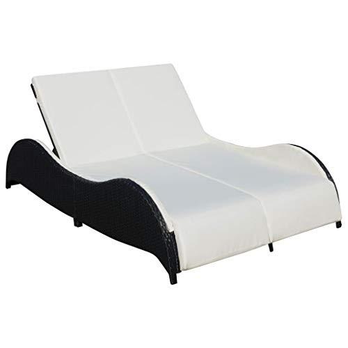 vidaXL Chaise Longue Double avec Coussin Bain de Soleil de Jardin Transat de Patio Chaise Longue d'Extérieur Terrasse Plage Résine Tressée Noir