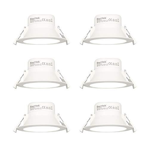 10W LED Einbauleuchten Einbaustrahler IP44 für Feuchtraum Badezimmer Ohne Trafo 230V 90-105MM Lochdurchmesser Einbauen Kaltweiß 5000K 6er Pack von Enuotek