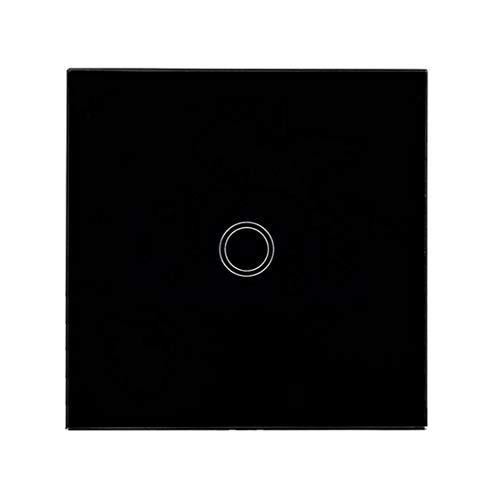 Haobing Interruptores de luz con indicador LED UK/EU Interruptor de Pared de Pantalla tactil de Vidrio (Negro, 1 Gang)
