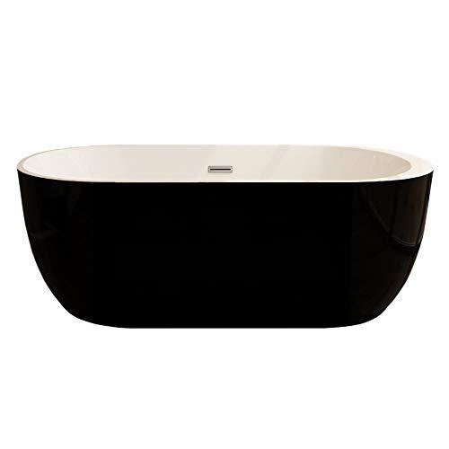 FRISA Baignoire îlot en acrylique noir 150 x 75 cm
