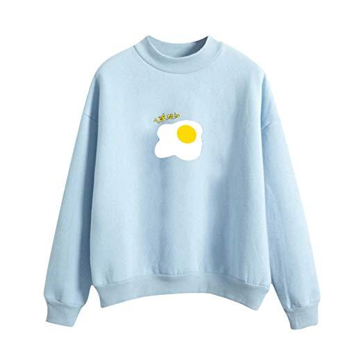 TOPKEAL Suéter de Manga Larga con Estampada de Huevo Frito y Color Liso para Jovencita Suerta Sudadera Azul Redonda L