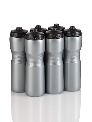 50 Strong Brand Jet Stream Sports Squeeze Water Bottle with One-Way Valve - Team Pack – Set of 6 Leak Proof Squirt Waterbottles - 28 Ounces -Perfect for Bikes - Made in USA (Silver)
