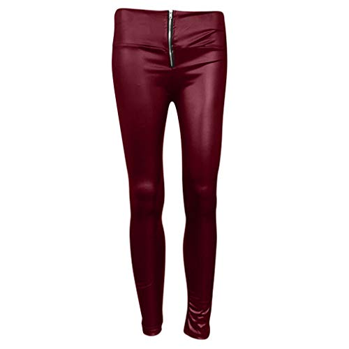 Shirt Luv Women High Waisted Slim Zipper Leather Pants Casual Stretch Pencil Trousers Wine S Trousers for Women