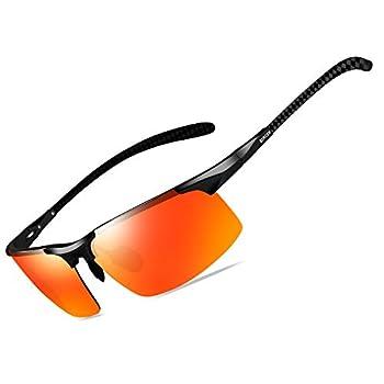 Bircen Mens Polarized Carbon Fiber Sunglasses UV Protection Sports Fishing Driving Sunglasses for Men Al-Mg Frame