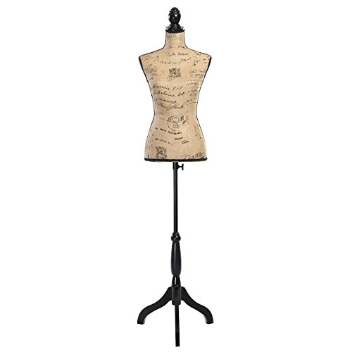 Giantex Female Mannequin Torso Body Dress Form with Black Adjustable Tripod Stand, 51.2''-66.2'' Adjustable Height Non-Straight Pinnable for Pants Clothing Dress Jewelry Display (Brown)