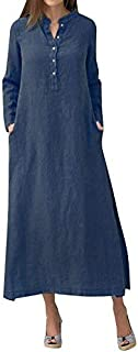Romacci Women Casual Long Shirt Dress Button Down Long Sleeves Slit Cotton Long Maxi Dresses with Pockets Dark Blue