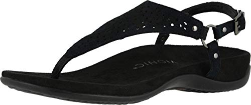 Vionic Women's Rest Kirra Backstrap Sandal - Ladies Sandals with Concealed Orthotic Arch Support Black Perf Suede 6.5 Medium US