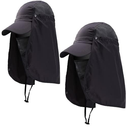 ZffXH 2 unidades de verano sombrero de pesca sol al aire libre gorra de béisbol cuello solapa cara cubierta protección impermeable