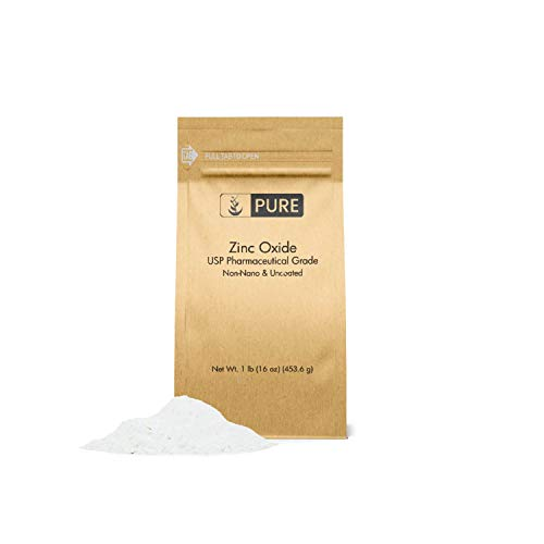 Zinc Oxide Powder (1 lb.) by Pure Organic Ingredients, Eco-Friendly Packaging, Non-Nano, Uncoated, USP Grade, For Sunscreen, Diaper Rash Ointment, Burn Relief & Chapped Lips Remedy