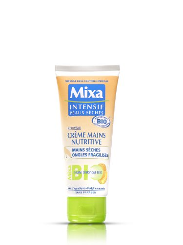 Mixa Bio Intensiv Creme für trockene Haut, Handcreme, Nutritive Hände, trockene Nägel, mit Bio-Aprikosenöl – 100 ml – 2 Stück