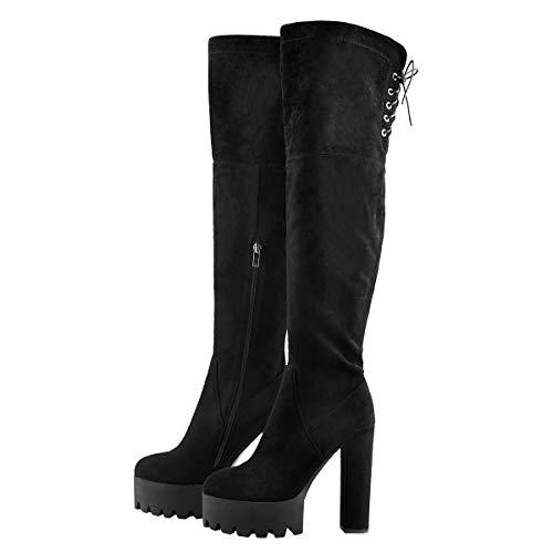 Only maker Damen Plateau Stiefel Overknee Blockabsatz High Heels mit Verstellbaren Schnüren Schwarz 38 EU