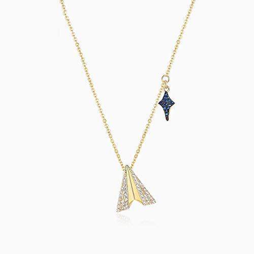 collares de mujer de moda Moda Paper Airplane pendiente de la estrella Collares joyería de la cadena collar de clavícula for mujeres y niñas collar de plata 925 Collar Dia De La Madre Regalos
