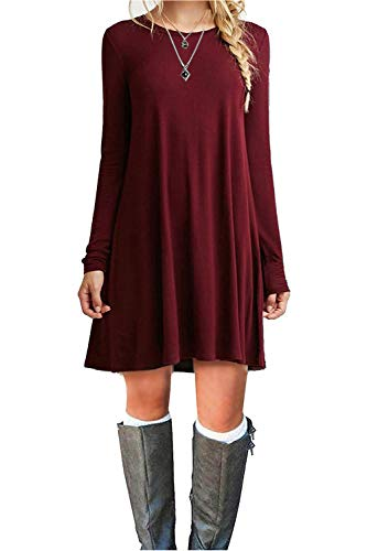 MOLERANI Women's Casual Plain Long Sleeve Simple T-shirt Loose Dress, Wine Red,Medium
