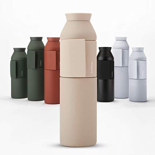 Closca Botella de Agua de Acero Inoxidable Bottle Wave. Cantimplora Termo Enganchable para niños y Adultos. Sin BPA. (Sahara, 600ml)