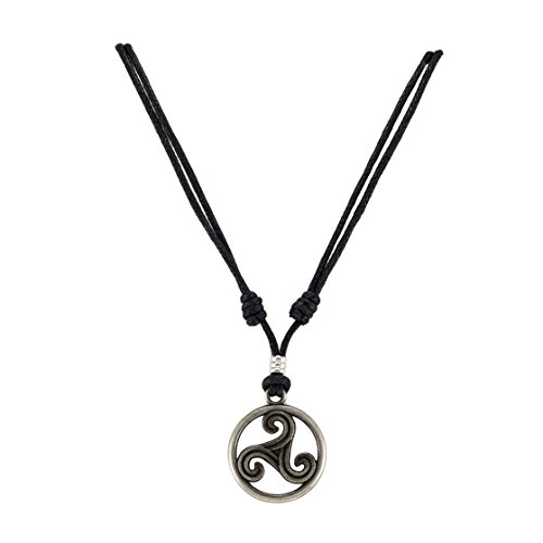 BlueRica Triskelion Celtic Symbol (Trinity, Eternity) Pendant on Adjustable Black Rope Cord Necklace (Old Silver)