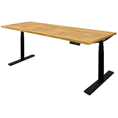 Novigami Schreibtisch elektrisch höhenverstellbar Josi | BxT 1800 x 800 mm | Gestell Schwarz | Eiche | Tischgestell Stehtisch Bürotisch Tischplatte